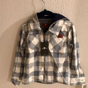 7 For All Mankind Toddler Boys Flannel Hoodie